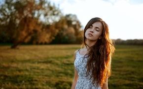Georgiy Chernyadyev, girl, brunette, dress, model, villages