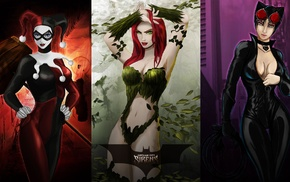 Poison Ivy, Batman, Harley Quinn, digital art, Catwoman, DC Comics