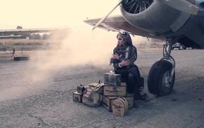 girl, airplane