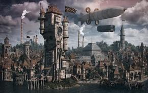 town, steampunk, Zeppelin