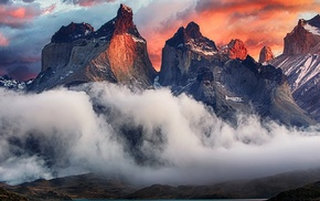 landscape, nature, sunrise, mountain, clouds, Torres del Paine