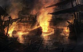 fantasy art, drawing, digital art, ship, boat