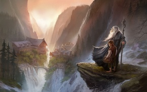 Rivendell, The Lord of the Rings, Gandalf, digital art, Bilbo Baggins, fantasy art