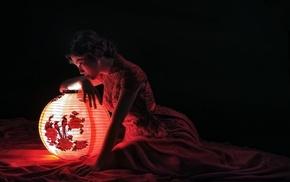 model, Asian, girl, lantern