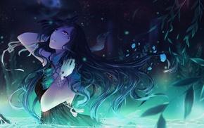 Alys, ribbon, anime, anime girls, water, night