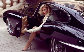 Kayslee Collins, girl with cars, red lipstick, stockings, high heels, Jaguar E