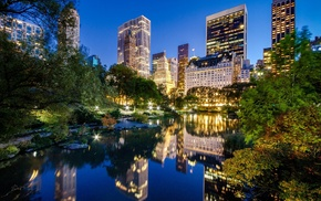 lights, New York City, reflection, city, skyscraper, Central Park