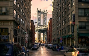 car, street, bridge, New York City, urban, architecture