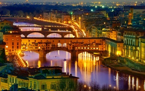 cityscape, river, lights, city, Florence, Italy
