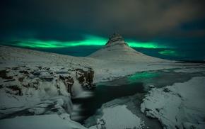 ice, nature, landscape, aurorae, mountain