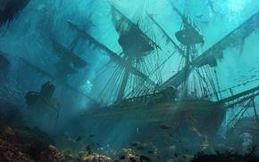 sea, fantasy art, ship, sinking ships, drawing