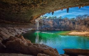 nature, landscape, waterfall, cave, lake