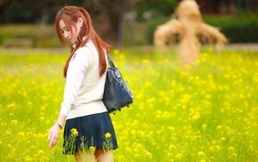 park, nature, field, yellow flowers, Asian, short skirt