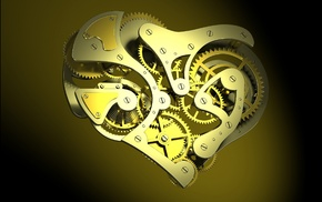 digital art, gears, screw, CGI, clockworks, minimalism