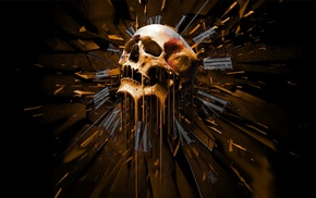 abstract, skull, orange