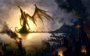 fantasy art, demon, destruction