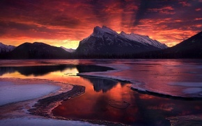 frost, clouds, Banff National Park, mountain, lake, Canada