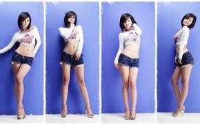 belly, Ryu Ji Hye, girl, jean shorts, legs, South Korea