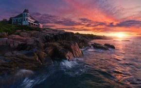 coast, sunrise, sea, rock, Maine, nature