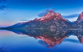 nature, landscape, lake, reflection, forest, blue