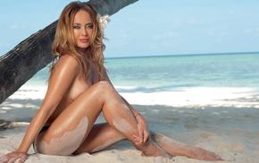 feet, Zhanna Friske, bikini, looking at viewer, ass, brunette