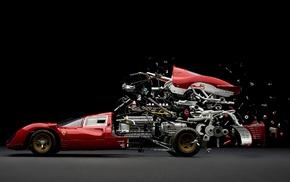 engines, gears, brake, black background, Ferrari, pipes