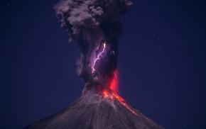 eruptions, lightning, long exposure, smoke, lava, night