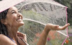 model, long hair, brunette, umbrella, Asian, smiling