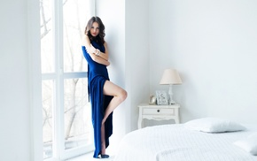 long hair, Catherine Timokhina, Violetta, high heels, dress, bed