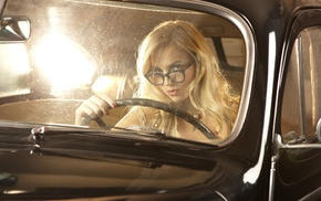 model, black cars, glasses, car, Ancilla Tilia, girl