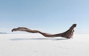 sand, barefoot, people, sea, horizon, beach