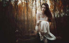 model, Trunks character, nature, girl, trees