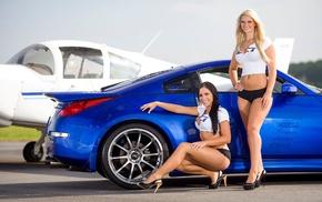 model, car, girl, airplane