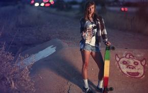 sports, model, Teravena Sugimoto, girl, skateboard