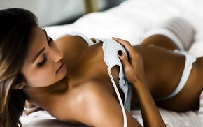 model, girl, depth of field, in bed, lingerie, brunette