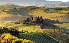 nature, field, hill, Italy, Tuscany, landscape
