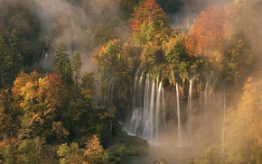 waterfall, landscape, nature, forest, trees
