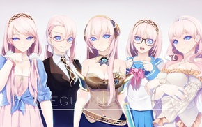 pink hair, suits, glasses, anime girls, princesses, Megurine Luka