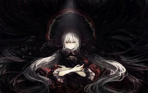 rose, white hair, original characters, anime girls