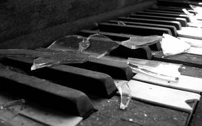 musical instrument, piano, broken glass