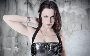 brunette, girl, Nightwish, singer, leather clothing, Floor Jansen