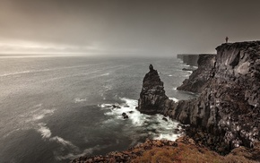 nature, rock, people, waves, landscape, sea