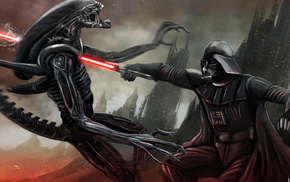 movies, aliens, crossover, digital art, Star Wars, fantasy art