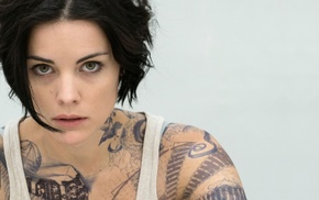 Jaimie Alexander, simple background, tattoo, brunette, tank top, face