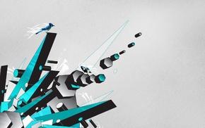 hexagon, CGI, simple background, digital art, animals, minimalism