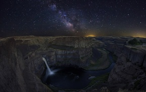 starry night, universe, waterfall, canyon, river, Washington state