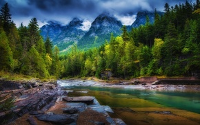 mountain, river, landscape, spring, green, forest