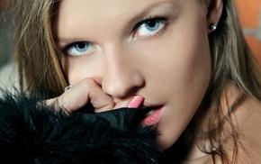 girl, face, fingernails, blonde, blue eyes, earrings