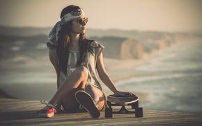 pier, beach, sports, skateboarding, girl