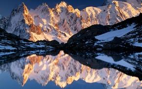 sunrise, landscape, mountain, lake, snowy peak, winter